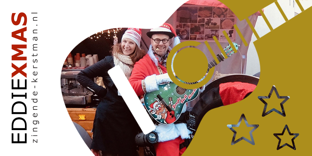 11   Gitaar   Zingende kerstman inhuren muzikale kerstact boeken winkelcentrum optreden troubadour gitaar live muziek christmas eddie xmas